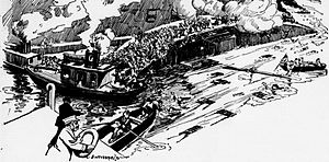 SS Eastland - Cartoonist Bob Satterfield witnessed the capsizing from the Clark Street Bridge, and sketched it for his syndicate.