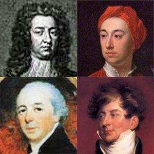 Carlton House Terrace - Clockwise from top left: Carleton, Burlington, the Prince Regent and John Nash