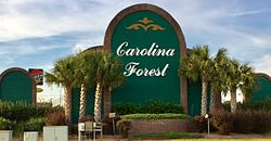 Sign at the entrance to Carolina Forest at the intersection of US 501 and Carolina Forest Boulevard
