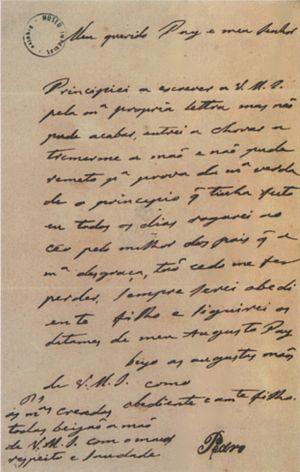 Carta do infante Pedro II ao pai Pedro I do Brasil