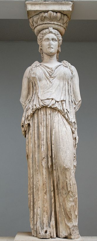Clothing in ancient Greece - Caryatid from the Erechtheion wearing a peplos. The blousing, or kolpos, is atop zone