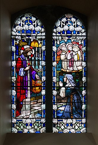 Ethel Rhind - Stained glass window by Ethel Rhind in Sacred Heart Church, Castletownbere. This work was created in 1910 and depicts Margaret Mary Alacoque receiving the revelation of the Sacred Heart.