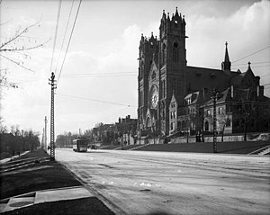 The Avenues, Salt Lake City - Cathedral of the Madeleine on the perimeter of the Avenues in 1908. Note electric trolley car