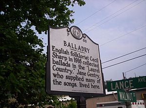 Cecil Sharp - A sign in Hot Springs, North Carolina marks where Cecil Sharp collected ballads in 1916.