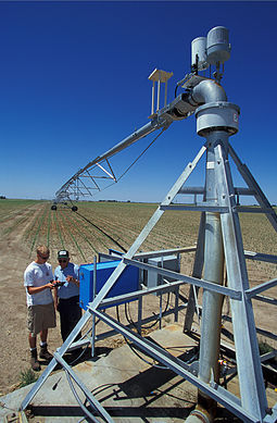 The hub of a center-pivot irrigation system Center-pivot irrigation.jpg