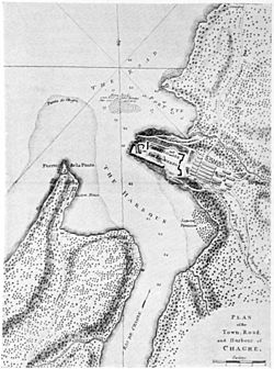 Map of Chagres and Fort San Lorenzo in about 1739