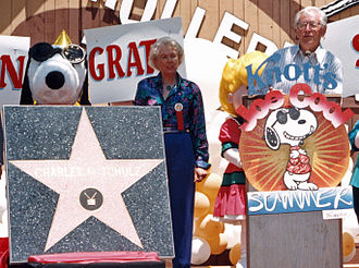 Charles M. Schulz - Schulz receiving his star on the Hollywood Walk of Fame at Knott's Berry Farm in June 1996