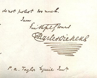 Letters of Charles Dickens - Dickens's signature from a letter, incorporating his personal flourish