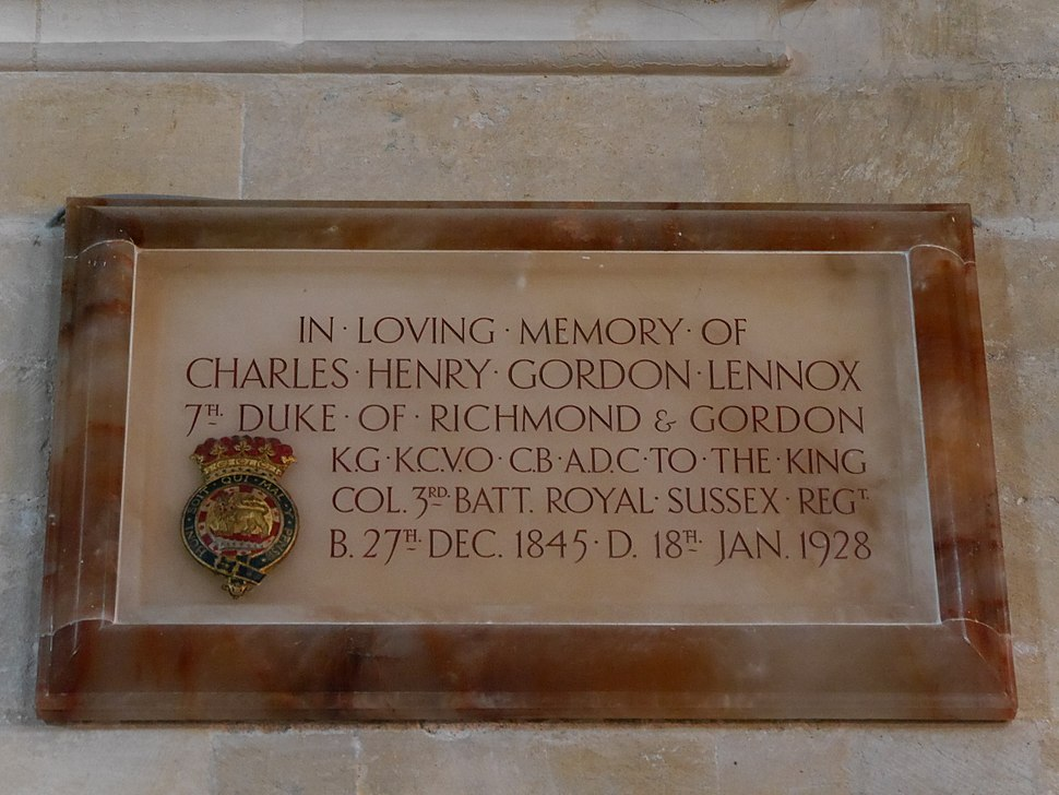 Charles Gordon-Lennox, 7th Duke of Richmond memorial, Chichester Cathedral, July 2015 01