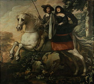 Escape of Charles II - Charles II and Jane Lane on the road to Bristol. Painting by  Isaac Fuller c1662.