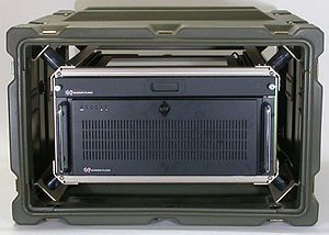 Transit case - Rack Case with equipment showing internal 19-inch rack with shock mounting