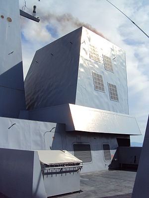 Stealth ship - Detail of Forbin, a modern frigate of the French navy. The faceted appearance reduces radar cross-section for stealth.