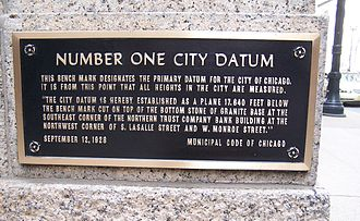 Geodetic datum - City of Chicago Datum Benchmark