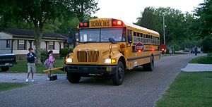 School bus traffic stop laws - Some jurisdictions, mostly all in North America, require all surrounding vehicles to stop when a school bus is stopped with its red lights flashing.