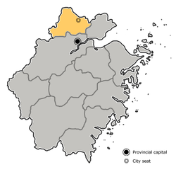 Location of Huzhou City jurisdiction in Zhejiang