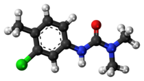 Ball-and-stick model of the chlortoluron molecule