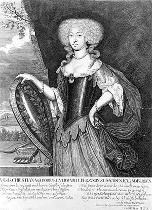 Christiane of Saxe-Merseburg - Christiane of Saxe-Merseburg, Duchess of Saxe-Eisenberg (probably in the allegorical representation of hunting goddess Diana), painted ca. 1678, now in the ''Kupferstichkabinett'' (Collection of Prints, Drawings and Photographs) of the Staatliche Kunstsammlungen Dresden (Dresden State Art Collections).