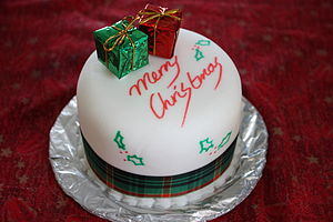 Christmas cake - A neatly decorated Christmas cake