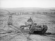 Churchill tanks of 9th Royal Tank Regiment during an exercise at Tilshead on Salisbury Plain, 31 January 1942. H16962