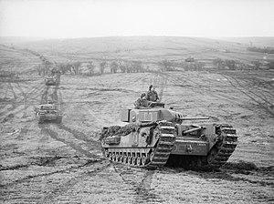 Churchill tank - Churchill tanks of 9th Royal Tank Regiment during an exercise at Tilshead on Salisbury Plain, 31 January 1942