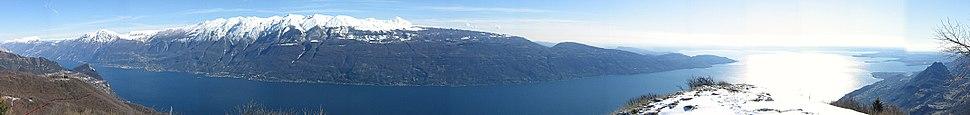 Panoramic view of Lake Garda from Cima Comer
