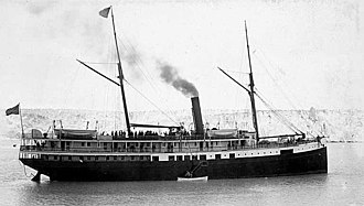 Pacific Coast Steamship Company - The City of Topeka in 1899 alongside the Muir Glacier.
