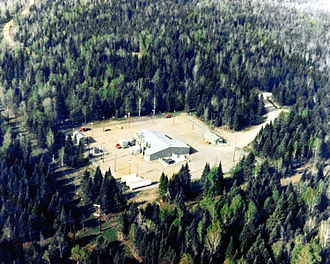 Extremely low frequency - 1982 aerial view of the U.S. Navy Clam Lake, Wisconsin ELF transmitter facility, used to communicate with deeply submerged submarines.