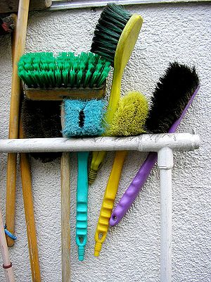 A number of cleaning brushes.