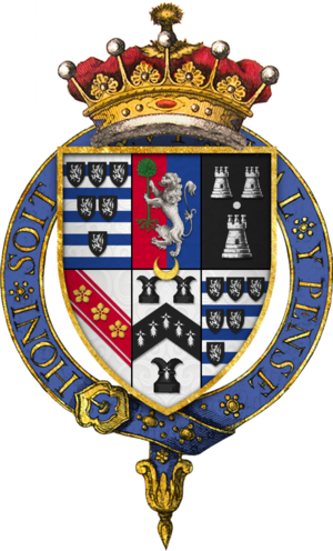 Quartered arms of Sir Robert Cecil, 1st Earl of Salisbury, KG. Coat of arms Sir Robert Cecil, 1st Earl of Salisbury, KG.png