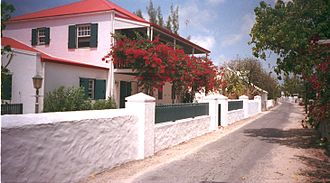 Turks and Caicos Islands - A street in Cockburn Town, the capital of the Turks and Caicos Islands