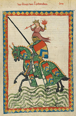 Ulrich von Liechtenstein - Portrait of Ulrich from the Codex Manesse