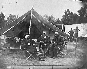 Berkeley Plantation - Colonels Albert V. Colburn, Delos B. Sackett and General John Sedgwick in Harrison's Landing, Virginia during the Peninsula Campaign, 1862.