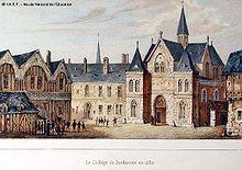 Gravure colorisée montrant les bâtiments de la Sorbonne au sein de leur quartier.