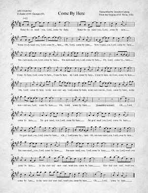 Kumbaya - Image: Come By Here Kumbaya Transcription of 1926 recording