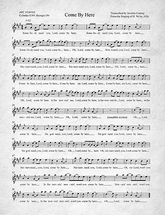 Kumbaya - Image: Come By Here Kumbaya Transcription of 1926 recording