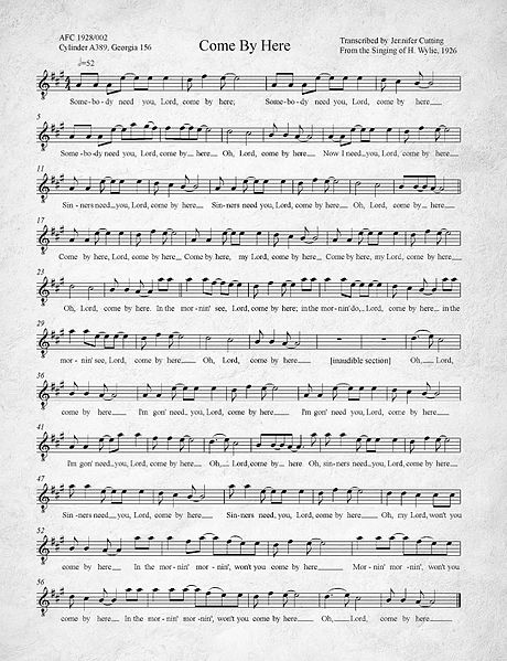 File:Come By Here Kumbaya Transcription of 1926 recording.jpg