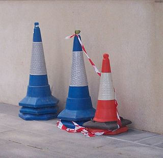Traffic cone usually cone-shaped markers, placed on roads or footpaths to temporarily redirect traffic