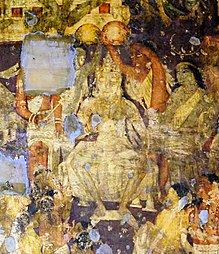 Consecration Of King Sinhala-Prince Vijaya (Detail From The Ajanta Mural Of Cave No 17).jpg