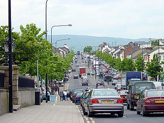 Cookstown - The main street, looking north. Slieve Gallion is in the background.