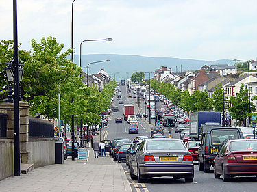 The main street, looking north. Slieve Gallion is in the background. Cookstown looking north.jpg