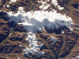 Cordillera Huayhuash - Huayhuash range as seen from the International Space Station in 2008.