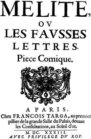 Mélite - Title page of 1633 edition of Mélite.