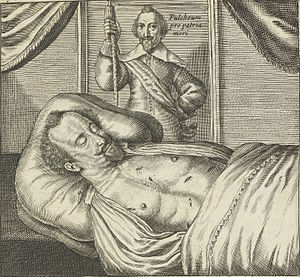 Sébastien de La Ruelle - Corpse of Sébastien de La Ruelle lying in state with wounds exposed. Print published by Jan van Hilten, 1637.