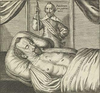 Sébastien de La Ruelle - Corpse of Sébastien de La Ruelle lying in state with wounds exposed. Print published by Jan van Hilten, 1637.