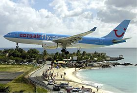 Corsair Airbus A330 at SXM Bidini.jpg