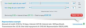 Wonga.com - Screenshot from Wonga.com showing the cost of borrowing £100 for 30 days as at 17 November 2013.