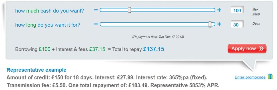 Cost of borrowing %C2%A3100 from Wonga.com for 30 days 17 Nov 2013