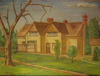 Raleigh DeGeer Amyx - A photograph of the painting Eisenhower did of Telegraph Cottage where he lived during WWII