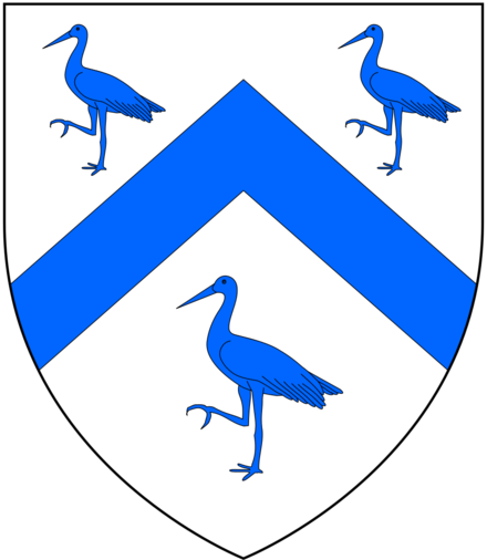 "Cranmer's paternal canting arms: Argent, a chevron between three cranes azure, which were altered by King Henry VIII to: Argent, on a chevron azure between three pelicans sable vulning themselves proper as many cinquefoils or, as ""those birds should signify unto him, that he ought to be ready, as the pelican is, to shed his blood for his young ones, brought up in the faith of Christ"" Cranmer PaternalArms.png"