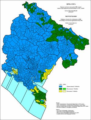Demographic history of Montenegro - Image: Crna Gora Verski sastav po naseljima 1880